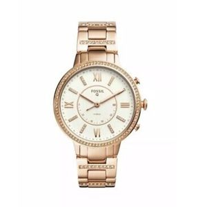 NIB Fossil Q FTW5010 Rose Gold Toned Hybrid Watch